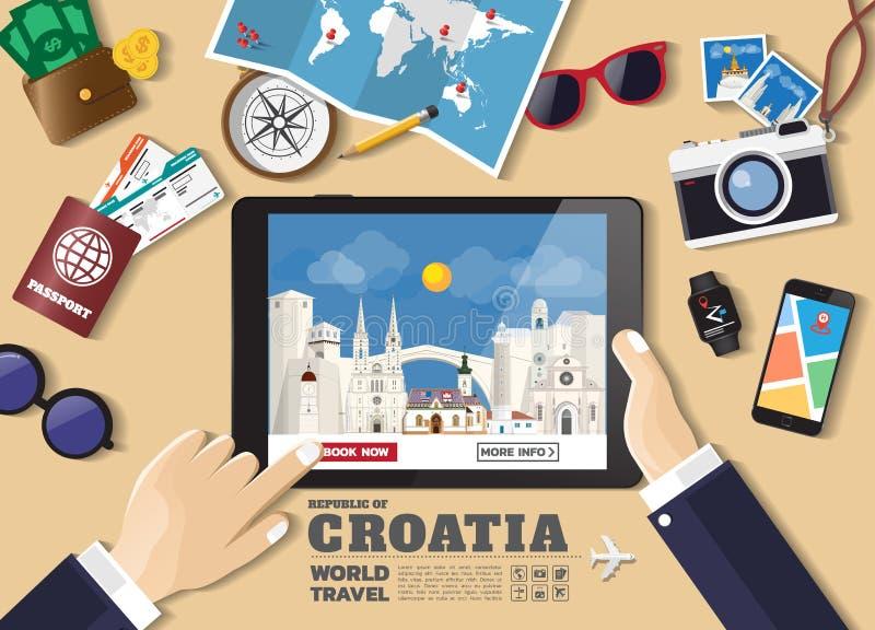 Hand die slimme tablet het boeken reisbestemming houden De beroemde plaatsen van Kroatië Vectorconceptenbanners in vlakke stijl m stock illustratie