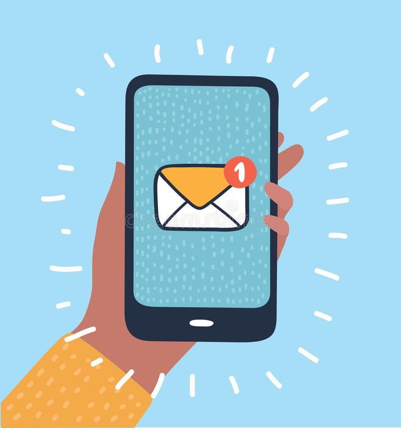 Hand die slimme telefoon in hand e-mail houden sociaal netwerk vector illustratie