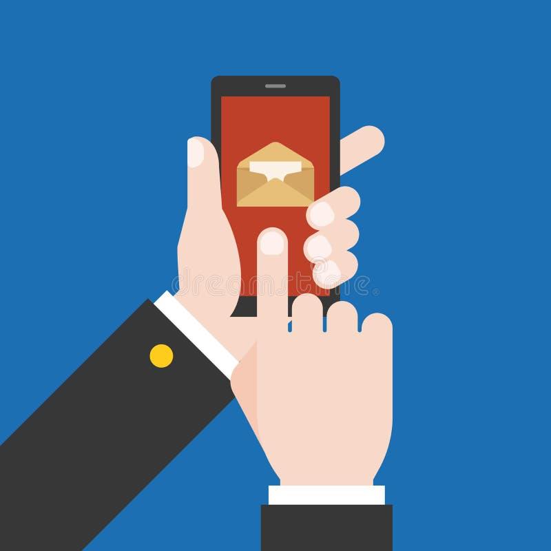 Hand die slimme telefoon en vinger wat betreft het scherm houden vector illustratie