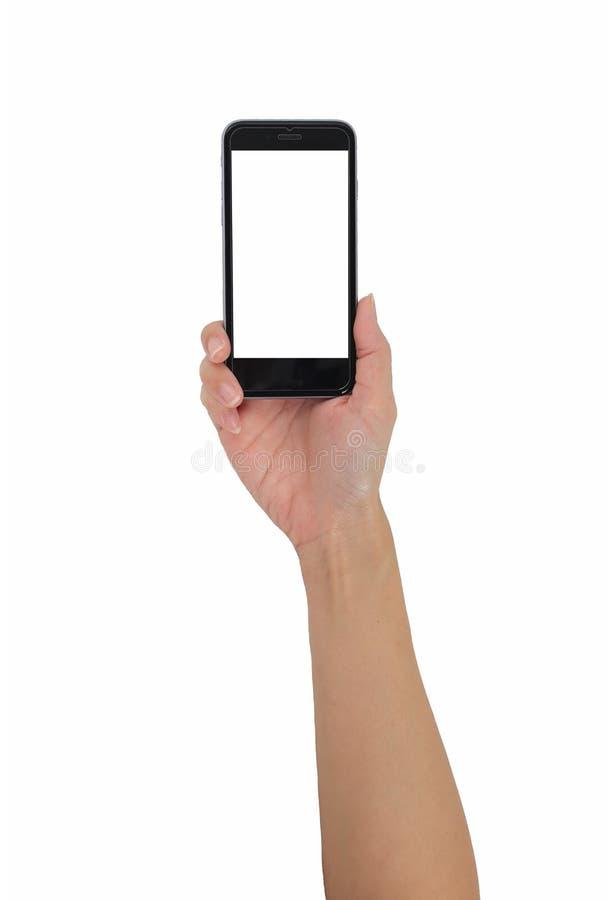 Hand die slimme telefoon geïsoleerde witte achtergrond, gebruik het knippen houden royalty-vrije stock foto