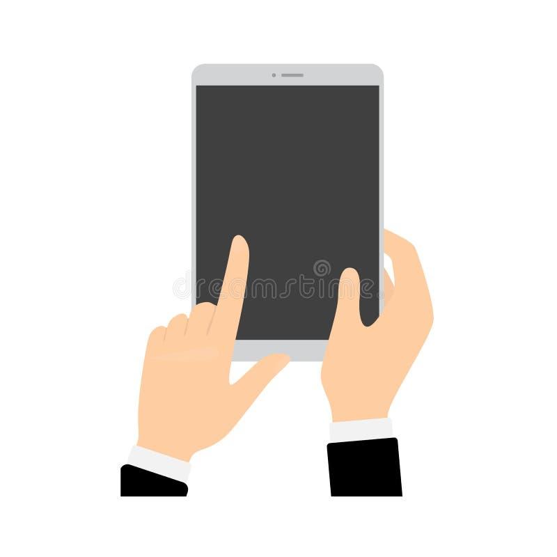 Hand, die Smartphone hält und den Schirm berührt stock abbildung
