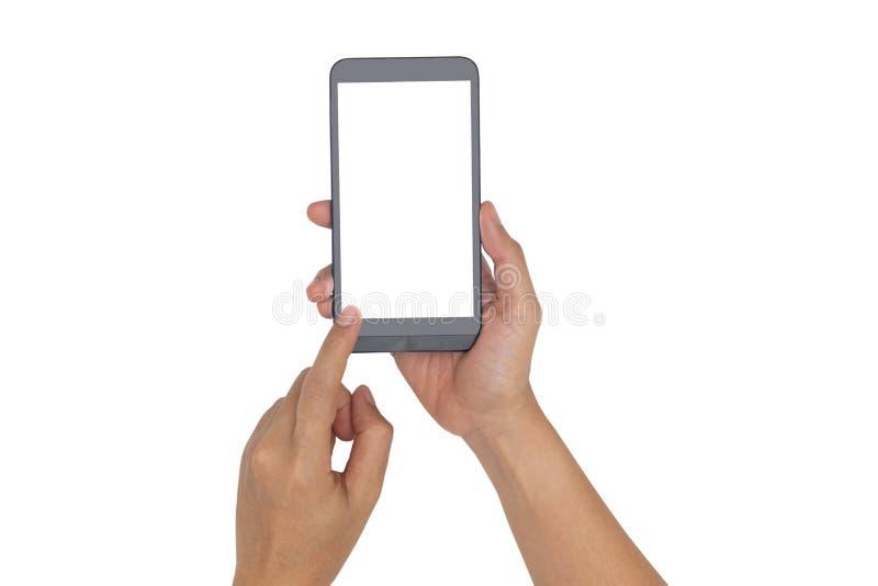 Hand, die Smartphone lokalisiert auf Weiß hält lizenzfreie stockbilder
