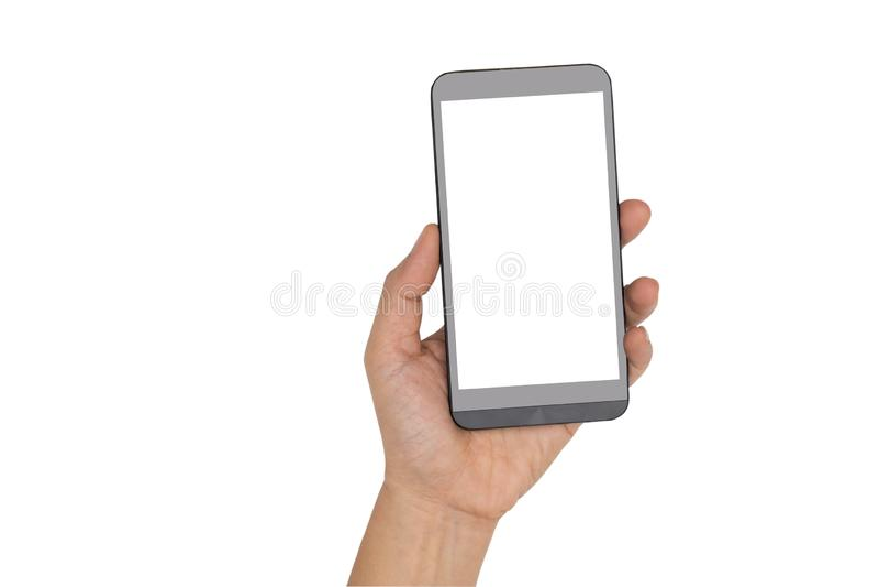 Hand, die Smartphone lokalisiert auf Weiß hält lizenzfreie stockfotos