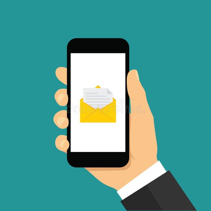 Hand, die Smartphone mit E-Mail-Ikone h?lt Flache Art - Vektor auf Lager stock abbildung