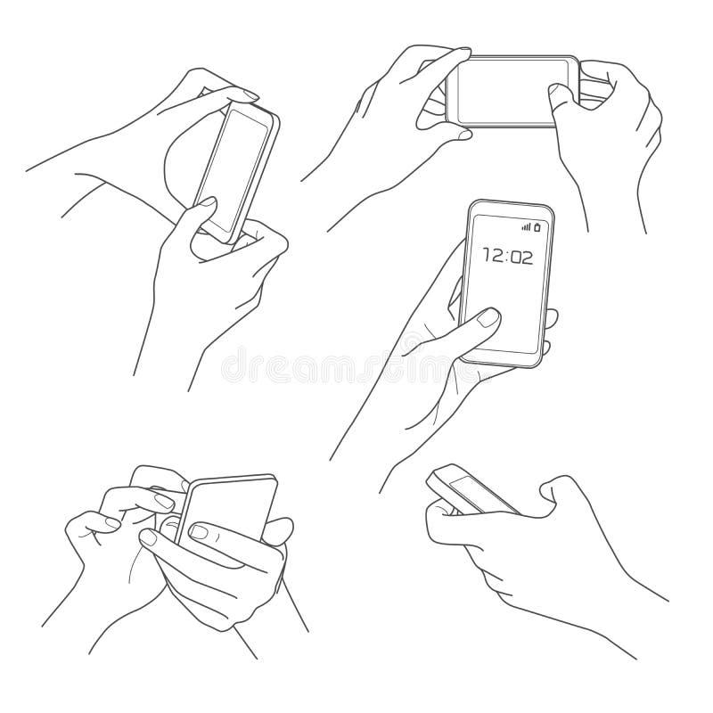 Hand, die Smartphoneskizzenvektor hält lizenzfreie abbildung