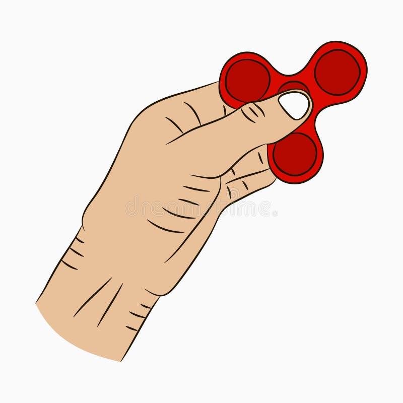Hand, die Spinner hält Gezogener Unruhespinner in der Karikaturart Spielzeug für erhöhten Fokus und Entspannung Vektor stock abbildung