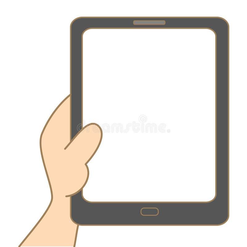 Hand, die Tablette anhält lizenzfreie abbildung
