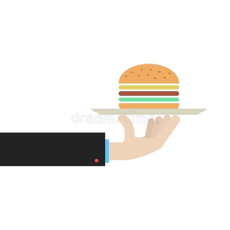 Hand, die Teller mit Hamburger hält stock abbildung