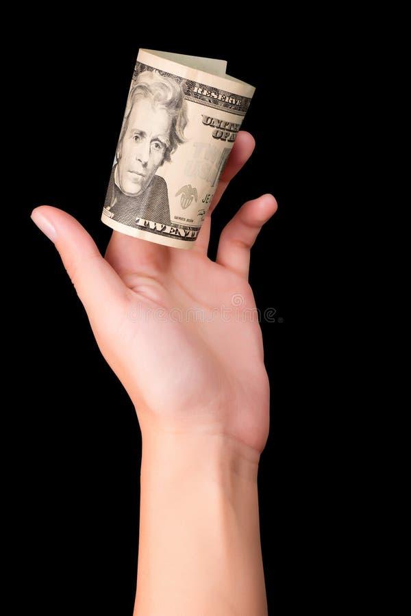 Hand die twintig dollars houden stock afbeeldingen