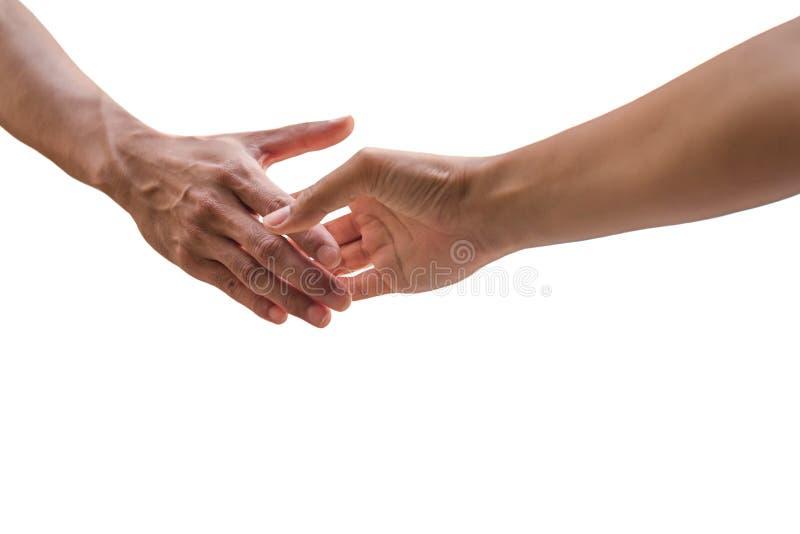 Hand die uit het schudden hand voor overeenkomst bereiken stock fotografie