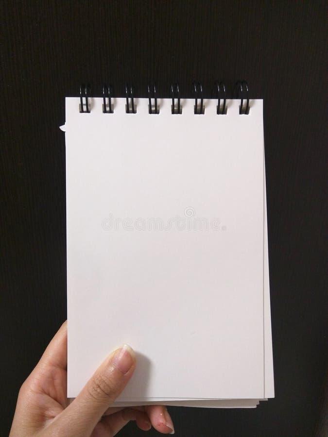 Hand, die unbelegtes Notizbuch anh?lt