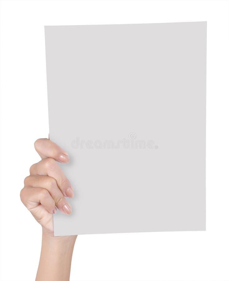 Hand, die unbelegtes Papier 1 anhält stockfotos