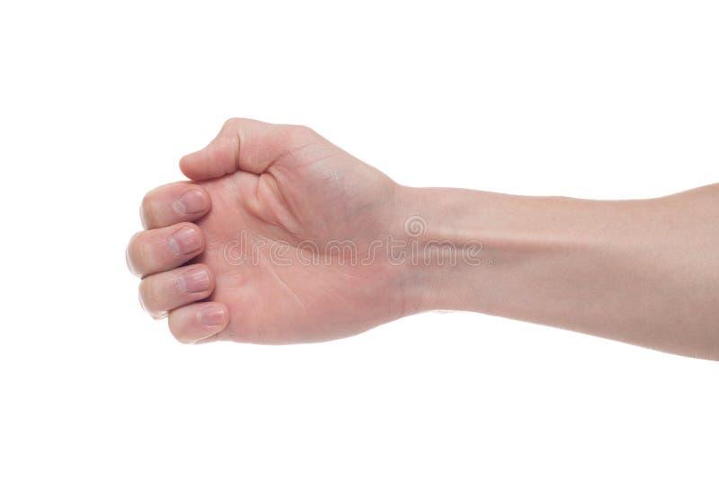 Hand, die unsichtbares Einzelteil hält Zeichenkonzept stockbilder