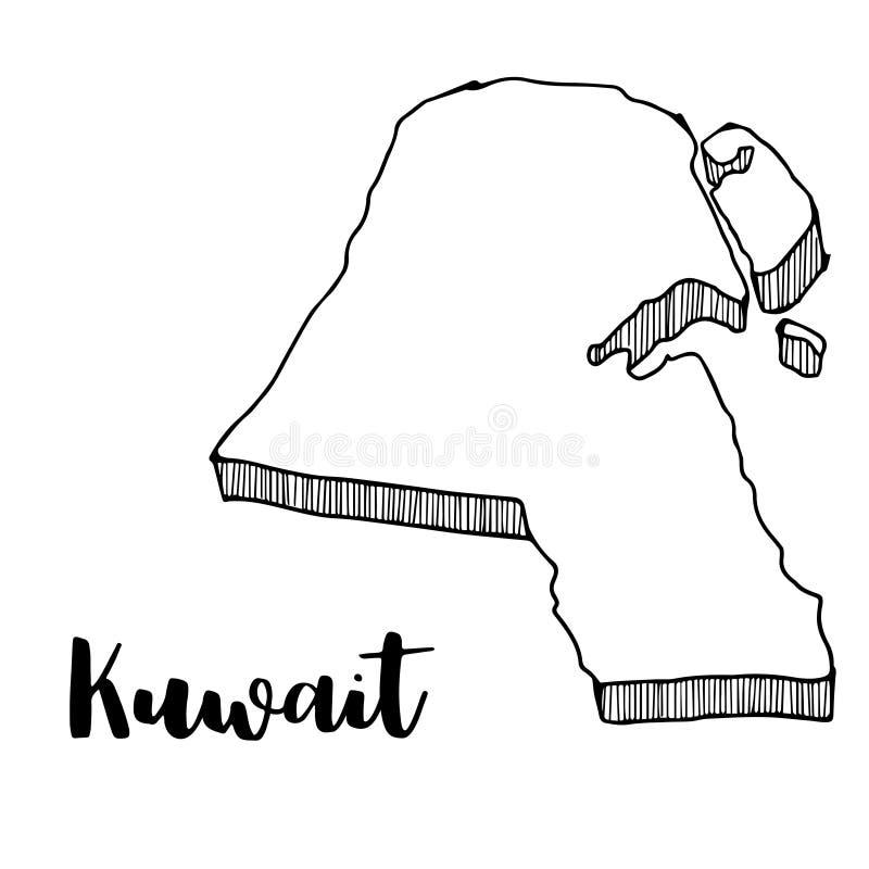 Hand die van de kaart van Koeweit, illustratie wordt getrokken vector illustratie