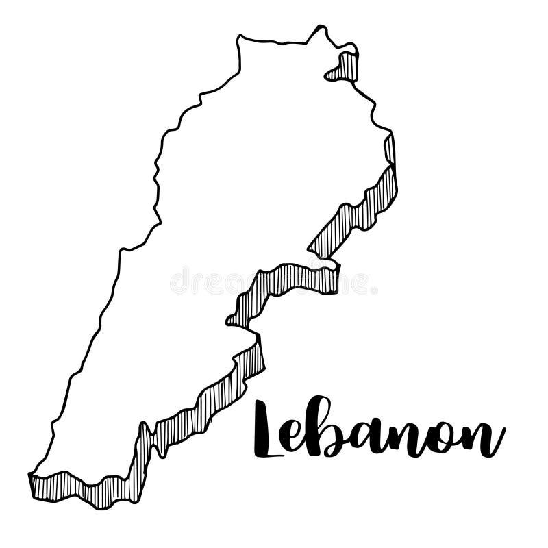 Hand die van de kaart van Libanon, illustratie wordt getrokken royalty-vrije illustratie