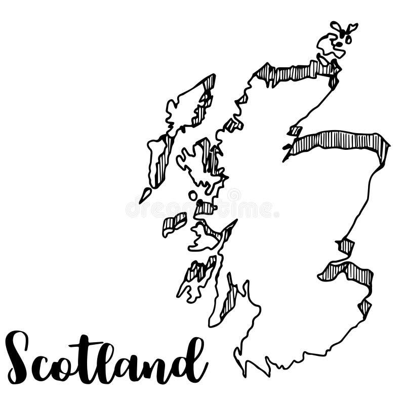 Hand die van de kaart van Schotland, illustratie wordt getrokken vector illustratie