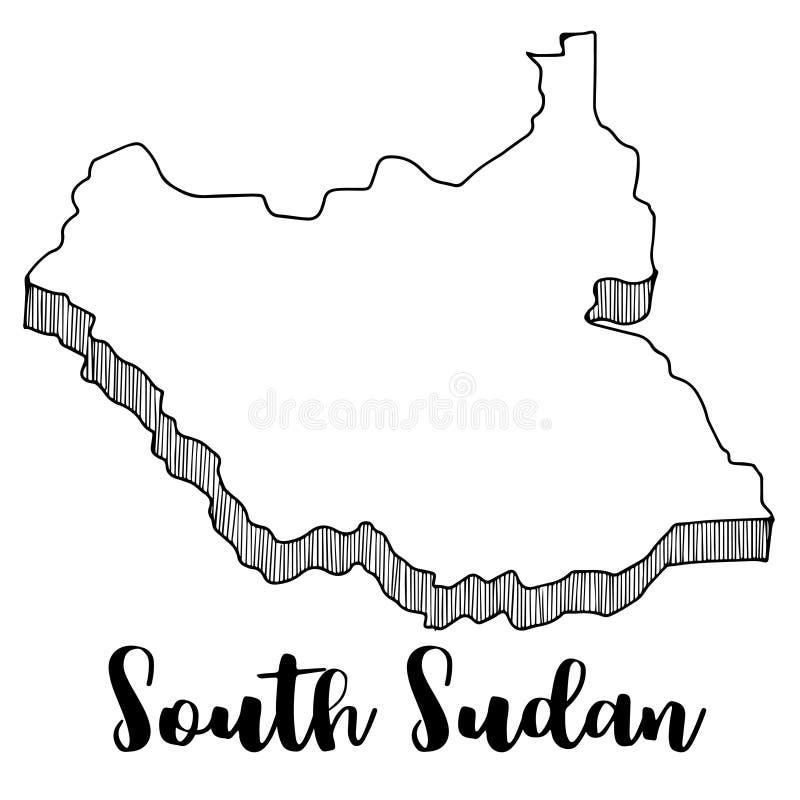 Hand die van de kaart van Zuid-Soedan, illustratie wordt getrokken stock illustratie