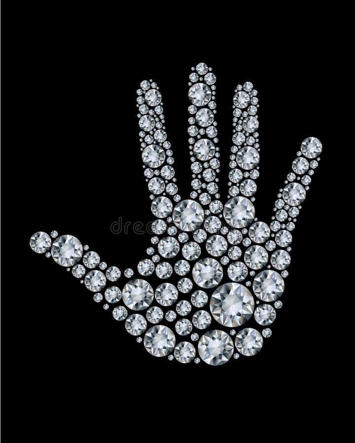 Hand - die van diamanten wordt gemaakt. royalty-vrije illustratie