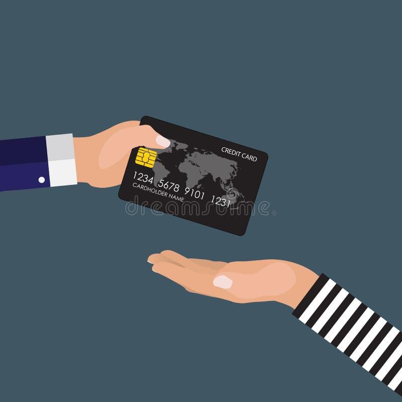 Hand die van slachtoffer een creditcard geven aan rover Vector illustratie stock illustratie