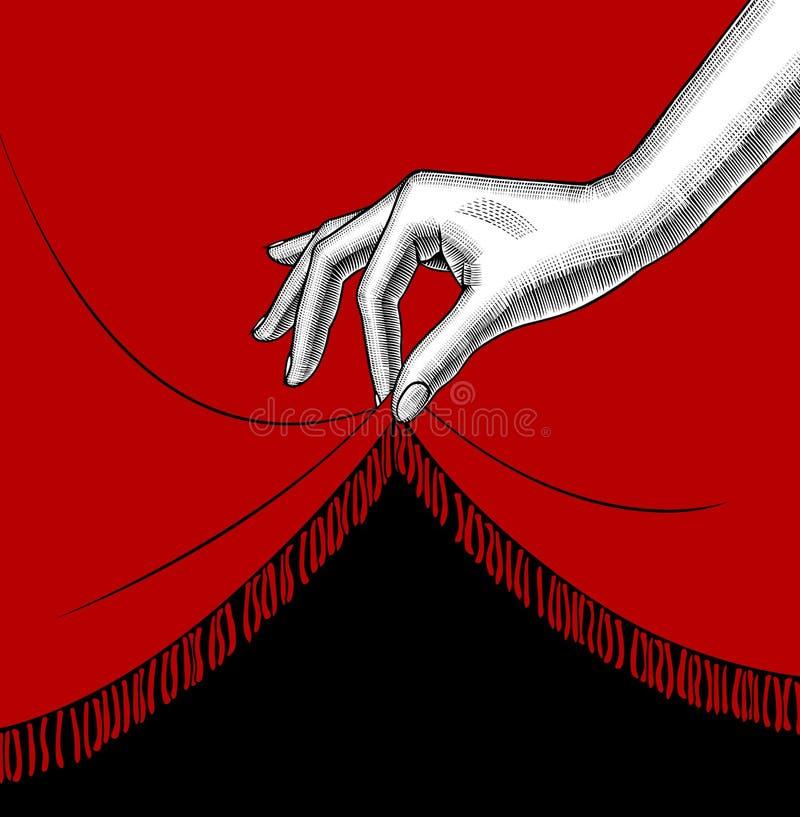 Hand die van vrouw de rand van het rode gordijn opheffen vector illustratie