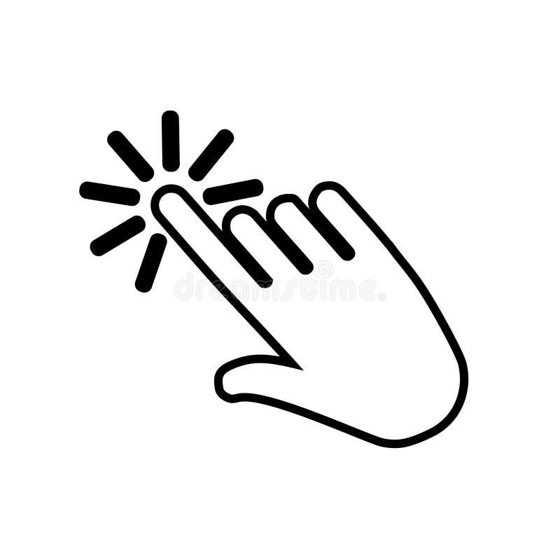 Hand die vectorpictogram klikken Klik het pictogram van de handillustratie vector illustratie