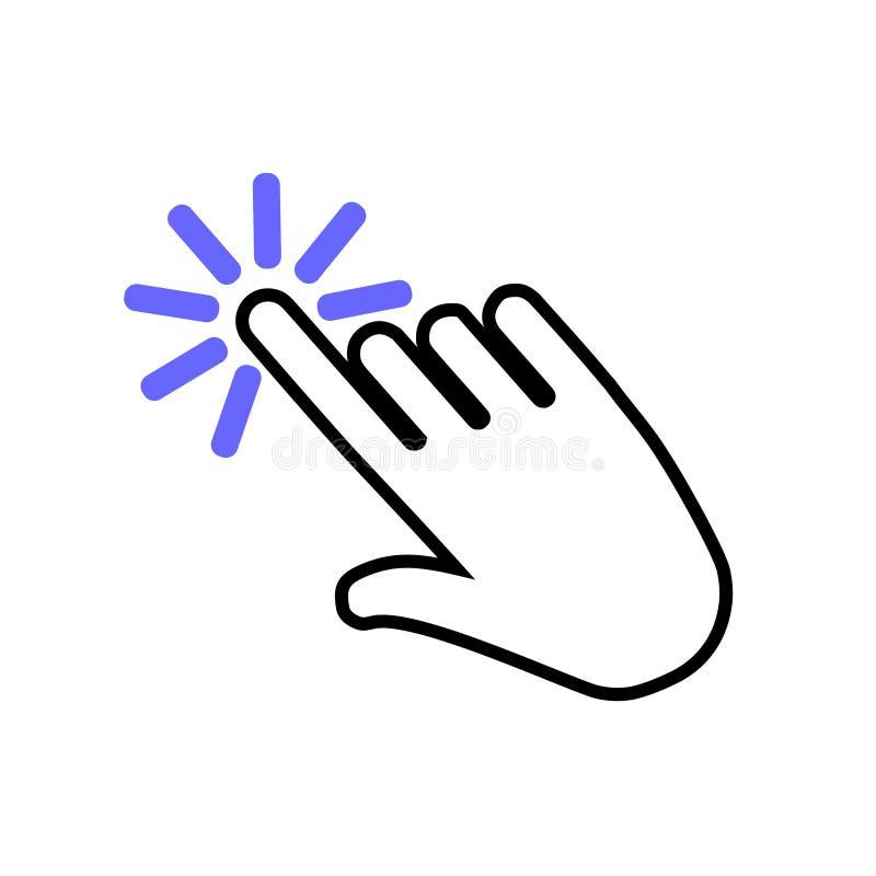 Hand die vectorpictogram klikken Klik het pictogram van de handillustratie royalty-vrije illustratie