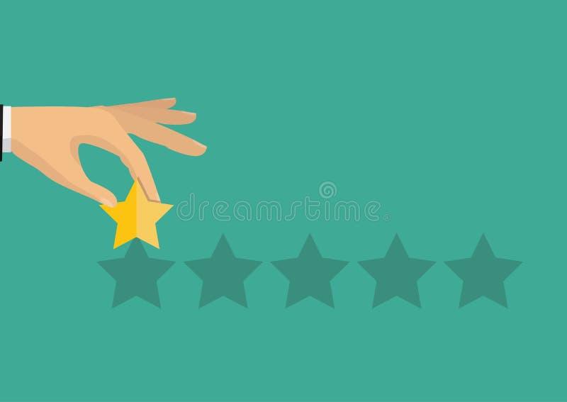 Hand, die veranschlagende goldene Sterne zeigt Feedback, Ikone Vektor Illust stock abbildung