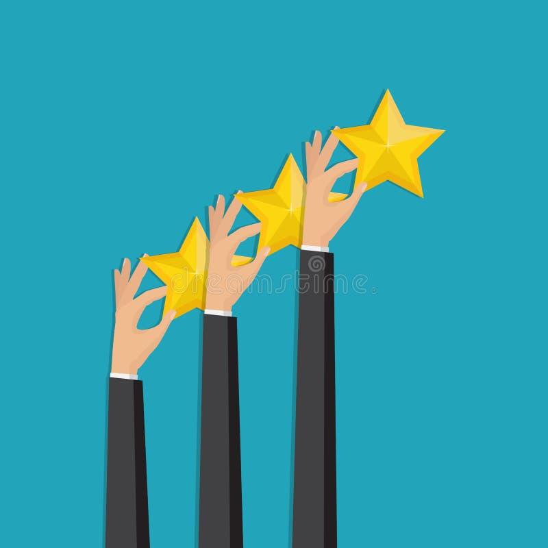 Hand, die veranschlagende goldene Sterne zeigt Feedback, Ikone Vektor Illust lizenzfreie abbildung