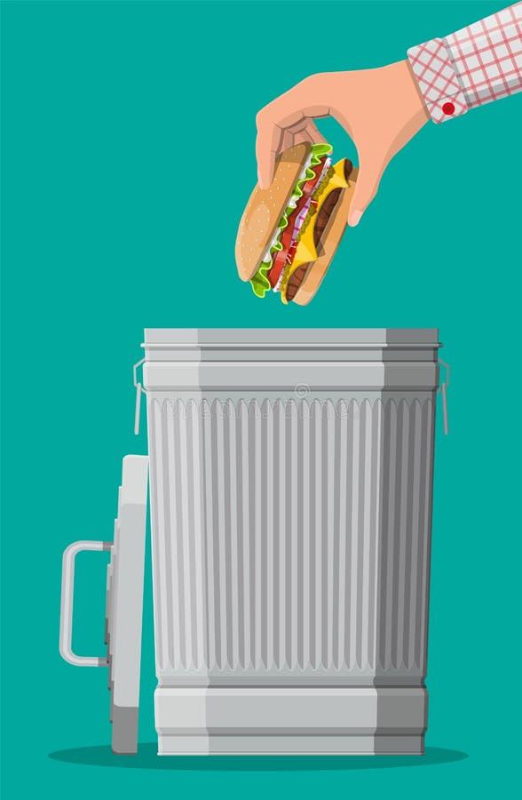 Hand die weg hamburger werpen aan afvalbak vector illustratie