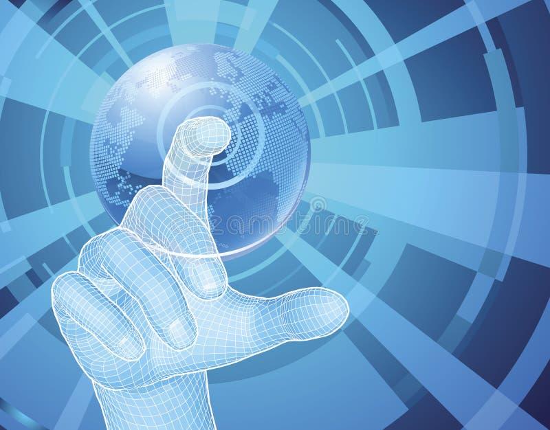 Hand, die Weltkugel-Konzepthintergrund auswählt stock abbildung