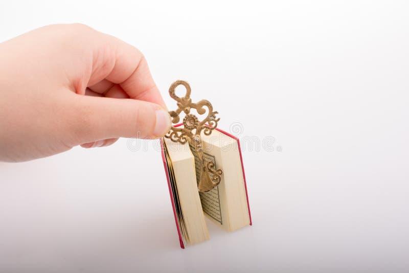 Hand die Zeer belangrijk en Islamitisch Heilig Boek Quran houden stock foto