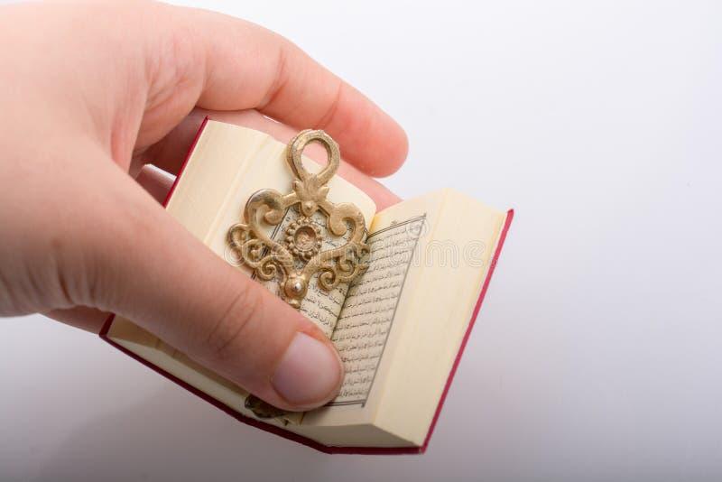 Hand die Zeer belangrijk en Islamitisch Heilig Boek Quran houden stock afbeeldingen