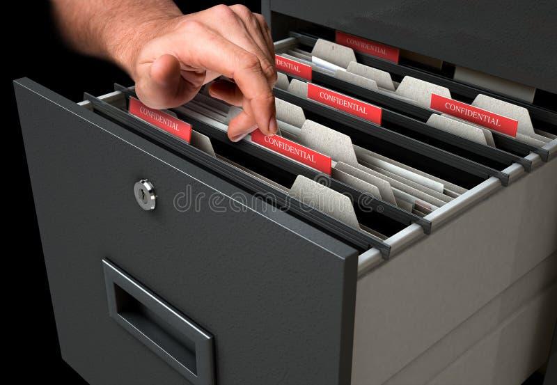 Hand, die zwar Aktenschrank-Fach schaut lizenzfreie stockbilder