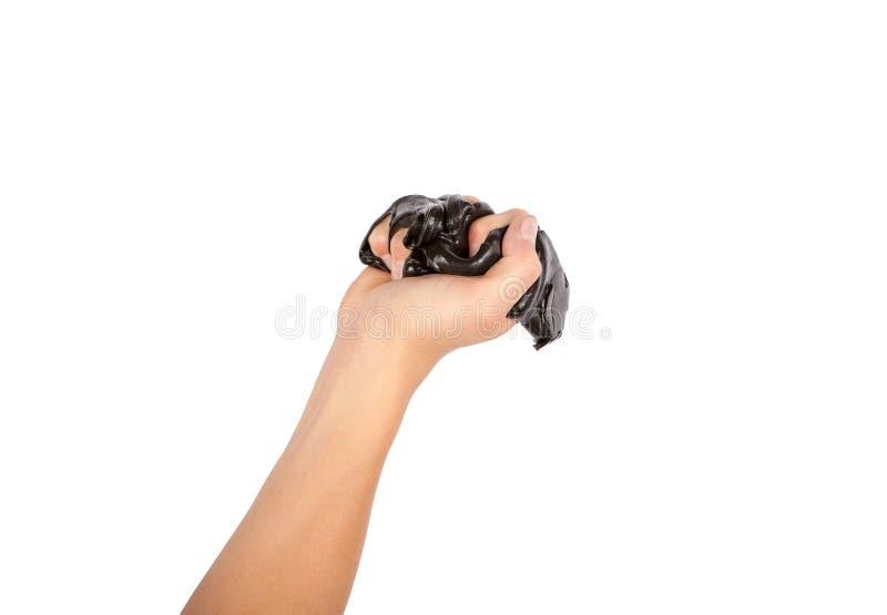 Hand die zwart slijm drukken Geïsoleerdj op witte achtergrond stock afbeelding