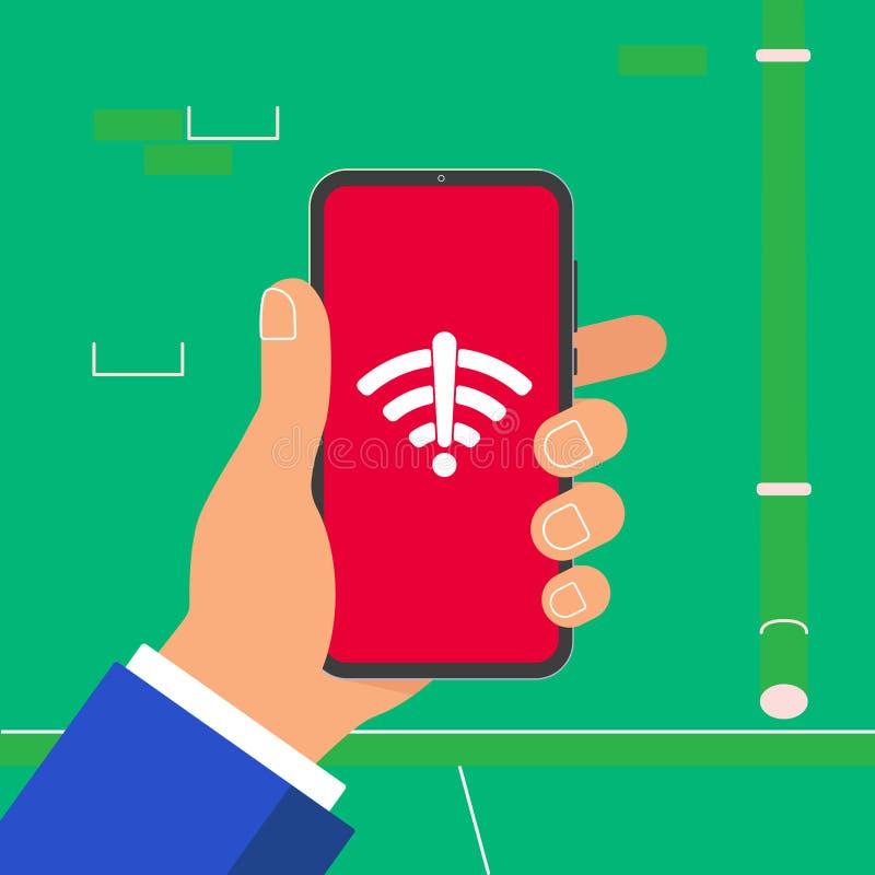 Hand die zwarte mobiele die telefoon zonder WiFi-het pictogram van het signaalsymbool op het scherm houden op lichtblauwe achterg stock illustratie