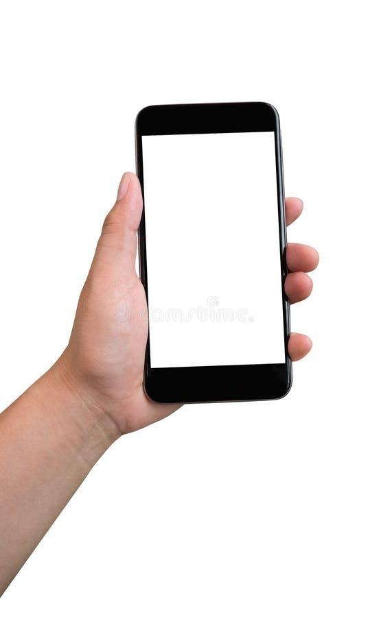 Hand die zwarte smartphone met het lege die scherm houden op whit wordt geïsoleerd royalty-vrije stock foto