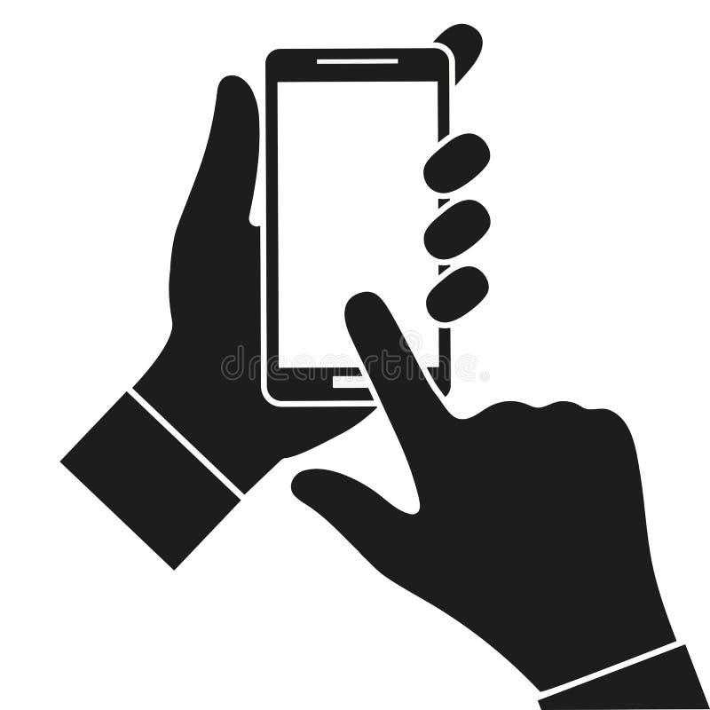 Hand die zwarte smartphone, wat betreft het lege witte scherm houden Het gebruiken van mobiele slimme telefoon stock illustratie