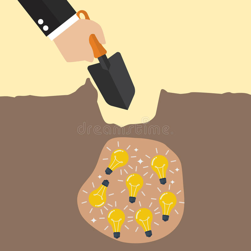 Hand dig a ground to find a treasure. Business concept vector illustration