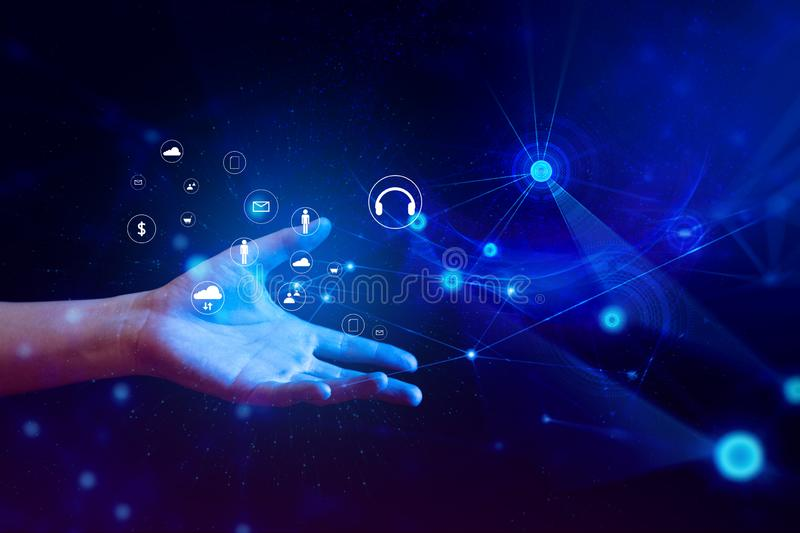 Hand with digital future of system technology network fintech server online business concept. People with artificial intelligence stock image