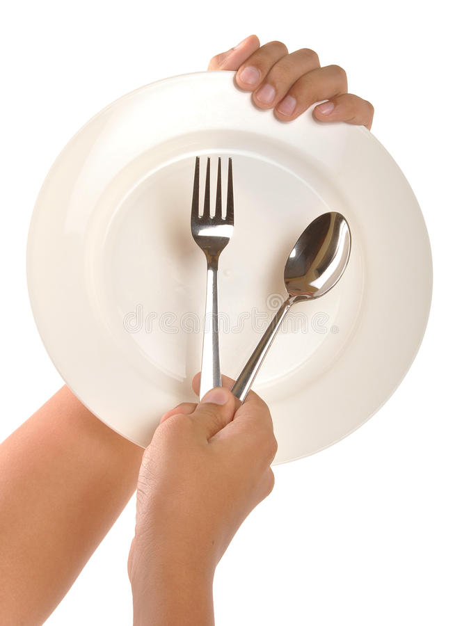 Hand with dinner plate royalty free stock images