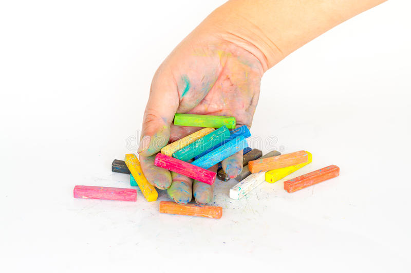 Hand dirty with Chalk Pastels Set in hand for Art Drawing Scrapbooking. Hand dirty with Chalk Pastels Set in hand for Art Drawing Scrap booking stock illustration