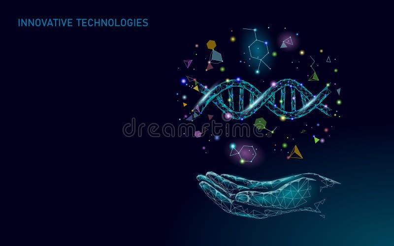 Hand-DNA-Gentherapiekonzept Medizinische Beratung App Geometrisches modernes Krankenhausnetz der Netzgesundheitswesendiagnose vektor abbildung