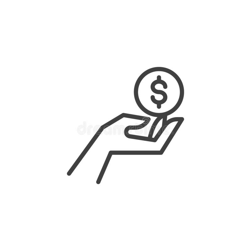 Hand with dollar coin line icon royalty free illustration
