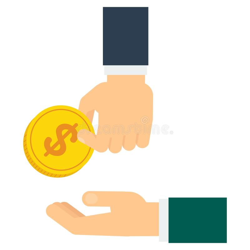 Hand donate coin. Hand donate money. Charity, helping the needy and disadvantaged people. Empathy, understanding and mutual support. Flat vector cartoon vector illustration