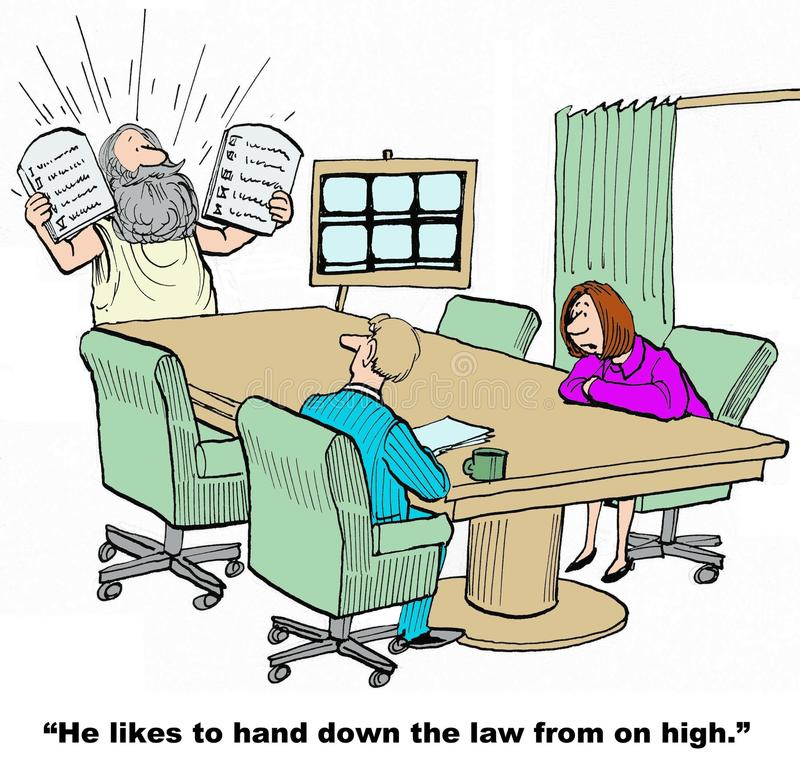 Hand Down Law. Business cartoon of businessman leader, Moses, giving directives to the managers. They say, 'he likes to hand down the law from on high vector illustration