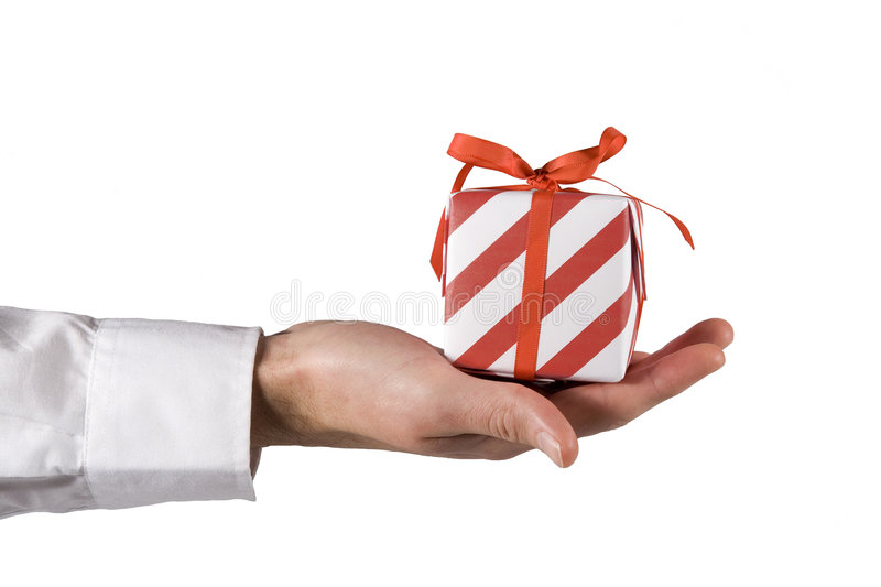Hand Down Present. Hand down red present on white background stock photos