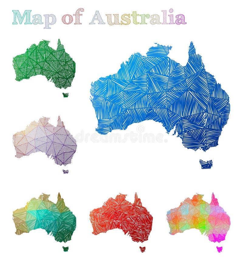 Hand-dragen översikt av Australien stock illustrationer