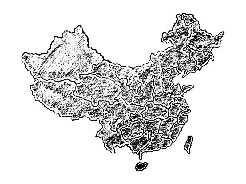 Hand dragen översikt av Kina vektor illustrationer