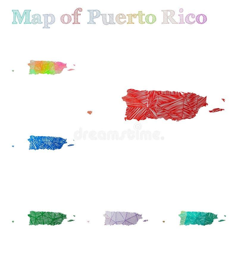 Hand-dragen översikt av Puerto Rico vektor illustrationer