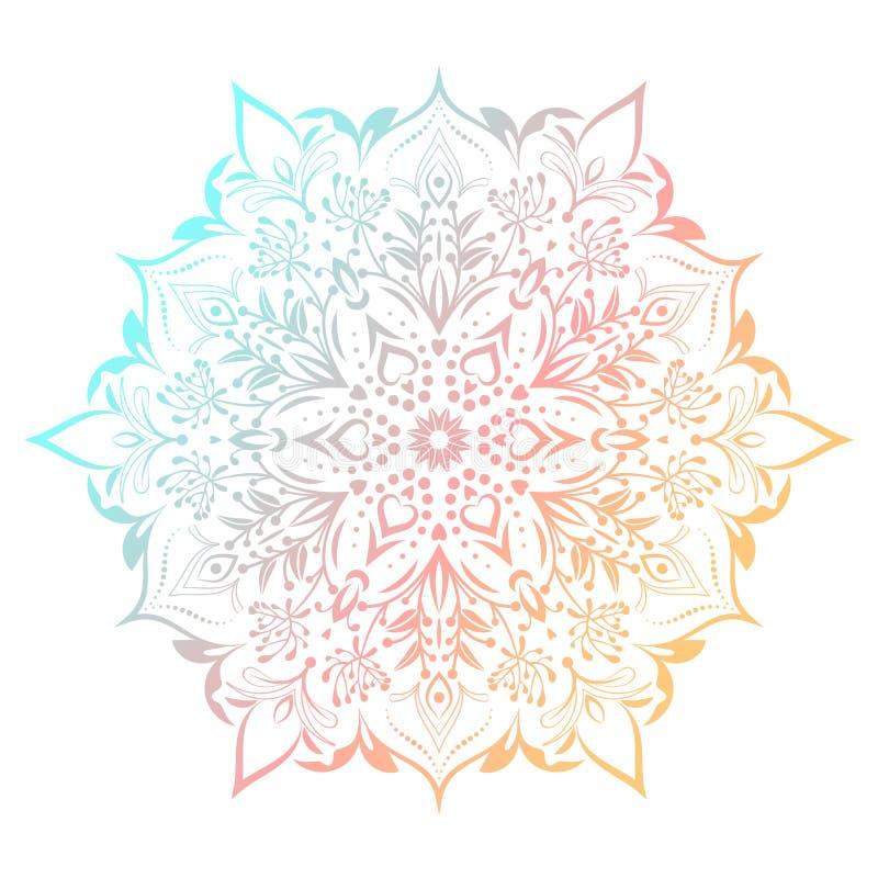 Hand dragen abstrakt mandaladesign Holographic rund modell för vektor Arabesquedesignbeståndsdel vektor illustrationer